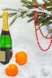 Composición del Año Nuevo con champán y naranjas Foto de archivo