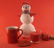 Composición del Año Nuevo con el muñeco de nieve hecho a mano Imagen de archivo