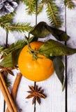 Composición del Año Nuevo con las mandarinas Imagen de archivo