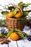 Composición del Año Nuevo con las mandarinas Fotografía de archivo