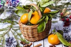 Composición del Año Nuevo con las mandarinas Foto de archivo