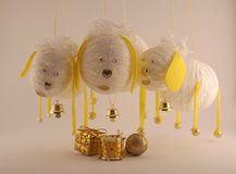 Composición del Año Nuevo con las ovejas Foto de archivo libre de regalías