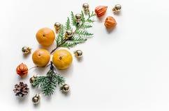 Composición del Año Nuevo con los mandarines en un fondo blanco Fondo de la Navidad para la presentación del trabajo o del texto Imágenes de archivo libres de regalías