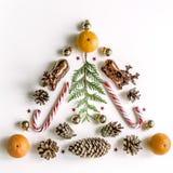 Composición del Año Nuevo con los mandarines, tuya, los conos y las bolas del Año Nuevo Fotografía de archivo libre de regalías