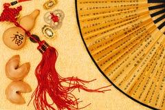 Composición del Año Nuevo de chino tradicional en superficie de oro Imagenes de archivo
