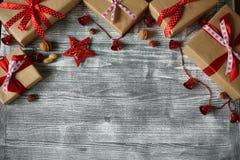 Composición del Año Nuevo de los diversos ornamentos Fotos de archivo