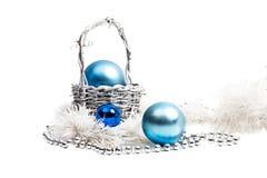 Composición del Año Nuevo en azul y plata Imágenes de archivo libres de regalías
