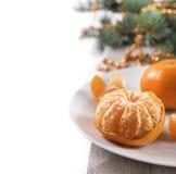 Composición del Año Nuevo y de la Navidad con el mandarín Imagen de archivo libre de regalías