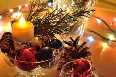 Composición del Año Nuevo y decoración de la Navidad Fotos de archivo libres de regalías