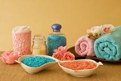 Composición del balneario en colores azules y rosados Imágenes de archivo libres de regalías