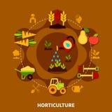 Composición del círculo de los iconos de la horticultura Fotos de archivo libres de regalías