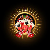 Composición del casino con la rueda de ruleta ilustración del vector