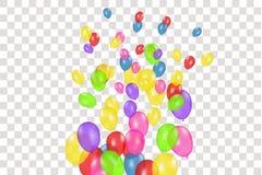 Composición del color de los globos realistas del vector aislados en fondo transparente Globos aislados Para el cumpleaños ilustración del vector