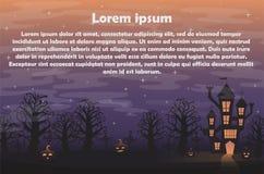 Composición del contexto de Halloween para las banderas, las etiquetas y las tarjetas de la invitación stock de ilustración