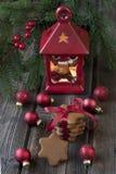 Composición del día de fiesta con símbolos de la Navidad Imagen de archivo