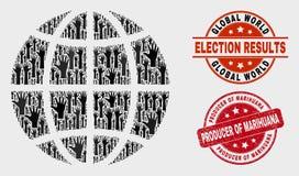 Composición del globo del planeta del voto y del productor del Grunge del sello de la marijuana libre illustration