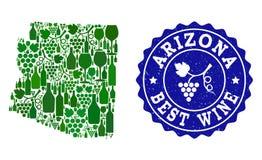 Composición del mapa del vino de la uva del estado de Arizona y del mejor sello del Grunge del vino libre illustration