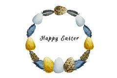 Composición del marco de la acuarela de los huevos de Pascua ilustración del vector