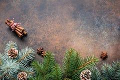 Composición del marco del fondo de la Navidad o del Año Nuevo con el espacio de la copia para el texto Foto de archivo libre de regalías