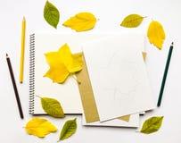 Composición del otoño con el álbum y los lápices, adornados con las hojas del amarillo y del verde Endecha plana, visión superior Imagen de archivo
