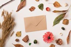 Composición del otoño con el sobre Foto de archivo libre de regalías