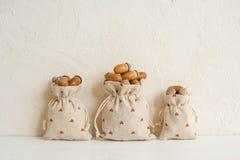 Composición del otoño con las bellotas en los bolsos de lino Otoño, concepto de la caída Copie el espacio imagen de archivo libre de regalías