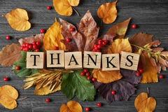Composición del otoño con las hojas, las bayas, los cubos y la palabra GRACIAS en fondo de madera Concepto del día de la acción d Fotografía de archivo libre de regalías