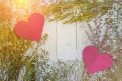 Composición del otoño de hojas, de flores y de bayas en la parte posterior de madera Fotos de archivo libres de regalías