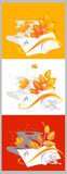 Composición del otoño de los cuadernos y de las hojas Imagen de archivo libre de regalías