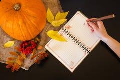 Composición del otoño del woman& x27 del cuaderno; mano de s con una pluma entre fila Imágenes de archivo libres de regalías