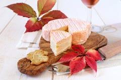 Composición del otoño: hojas rojas, queso francés y copa Imagen de archivo libre de regalías