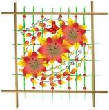 Composición del panel con las flores Imágenes de archivo libres de regalías