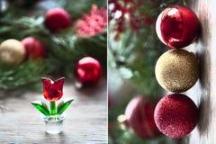 Composición del `s del Año Nuevo Bolas cristalinas rojas de la flor y de la Navidad El nacimiento de un nuevo diptych Imágenes de archivo libres de regalías