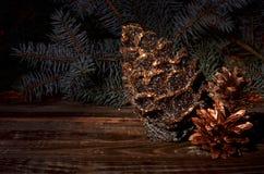 Composición del ` s del Año Nuevo de los conos de un pino Fotografía de archivo libre de regalías