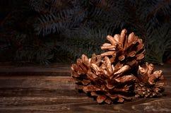 Composición del ` s del Año Nuevo de los conos de un pino Fotos de archivo