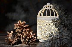 Composición del ` s del Año Nuevo de los conos de un pino y de la palmatoria de la Navidad del vintage Fotos de archivo