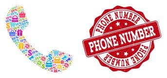 Composición del teléfono del mosaico y sello del Grunge para las ventas ilustración del vector