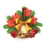 Composición del tiempo de la Navidad con la campana Fotos de archivo libres de regalías