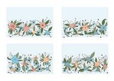 Composición del vector de las flores en estilo del garabato stock de ilustración