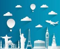 Composición del viaje con las señales famosas del mundo Viaje y turismo Diseño plano con la sombra larga Vector ilustración del vector