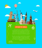 Composición del viaje con los iconos famosos de las señales del mundo Vector Foto de archivo libre de regalías