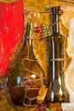 Composición del vidrio manchado del tema del vino Imágenes de archivo libres de regalías
