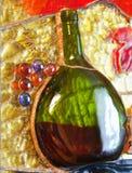 Composición del vidrio manchado del tema del vino Imagen de archivo