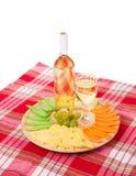Composición del vino blanco y del queso Foto de archivo