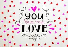 Composición del vintage del día del ` s de la tarjeta del día de San Valentín del St de los corazones dibujados mano de las letra Imagen de archivo libre de regalías