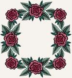 Composición del vintage para la frontera con las rosas Imágenes de archivo libres de regalías