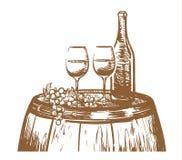 Composición exhausta de la mano del vino, vidrios, una botella de vino, y uvas en un barril Ejemplo del vector del bosquejo ilustración del vector