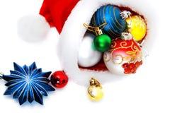 Composición fina de la Navidad para el cartel y los juguetes Imágenes de archivo libres de regalías