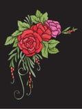 Composición floral bordado Imágenes de archivo libres de regalías