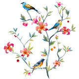 Composición floral con los pájaros Foto de archivo